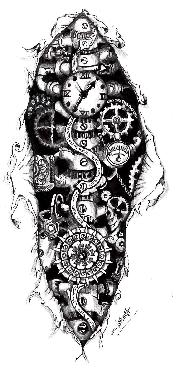 Steampunk Gears Tattoo | Steampunk Clock Tattoo Designs ...