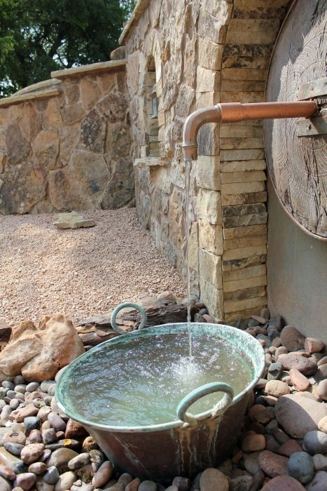 Reclaimed Wood And Copper Faucet Landscape Water Feature