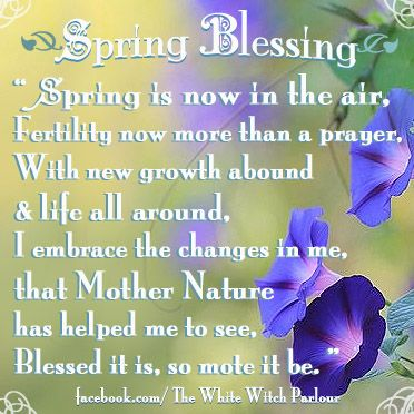 spring, blessing, prayer, abundance, fertility, new growth, spring equinox, first day of spring, nature, boho, spiritual, metaphysical, psychic, wicca, witch, white witch, book of shadows, blessing, goddess, priestess  www.whitewitchparlour.com