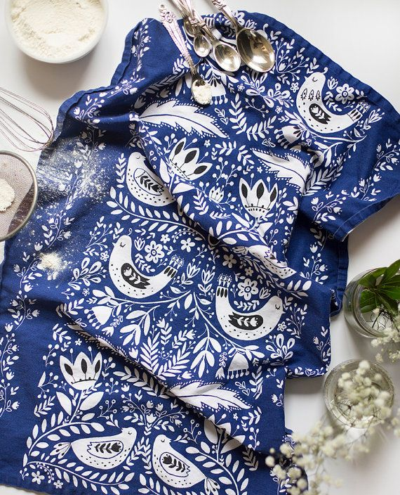 """Birds Tea Towel 100% cotton, 20""""x30"""", comes in a gift packaging with a complimentary recipe card"""