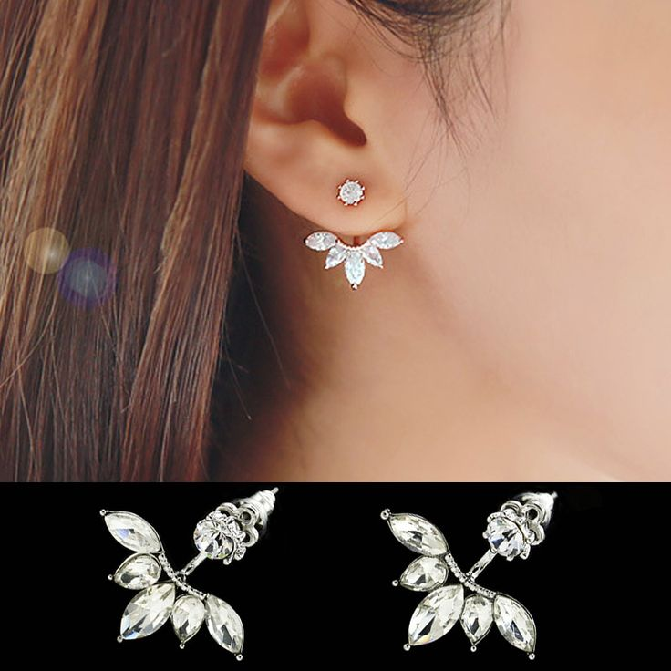 Leaf Crystals Stud Earring for Women Silver color Double Sided Fashion Jewelry Earrings female Ear Jacket brincos Pending Mujer