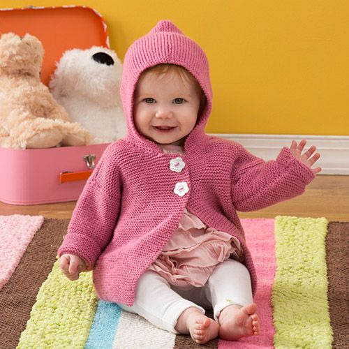 Baby will love this comfy hoodie! It's knit in simple garter stitch with an easy-care yarn that new mums will love. Free Knitting Pattern by #RedHeart