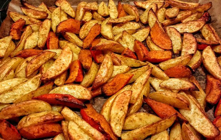 Kartoffel- und Kürbisspalten aus dem Ofen | Olivenöl | Ingwer | Kräutersalz | Rosmarin | Rosenpaprika