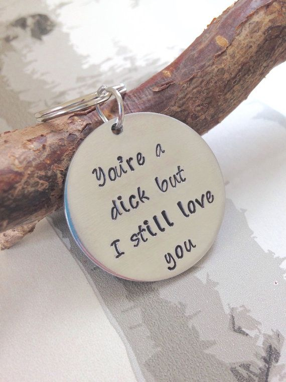 Christmas Gift  Hand stamped personalised keyring  by TrashedGifts
