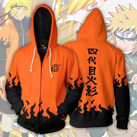 Minato Namikaze Hokage Orange Zip Up Hoodie