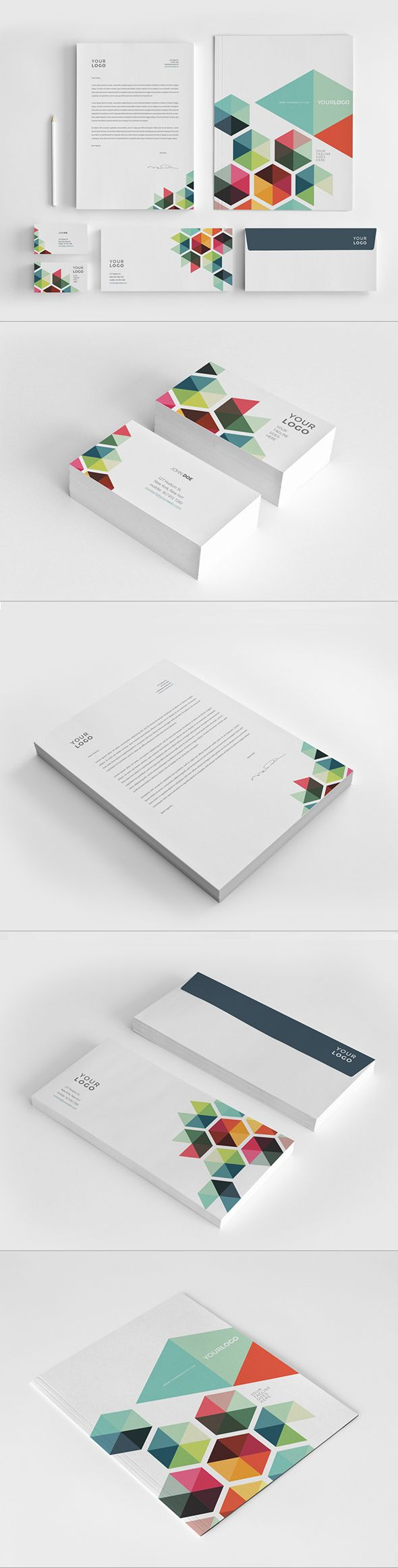 Business colorful stationery template.  Abra Design - Argentina.  The colorful geometric shapes provide a clean, modern look.  All identity pieces work well as a cohesive unit.