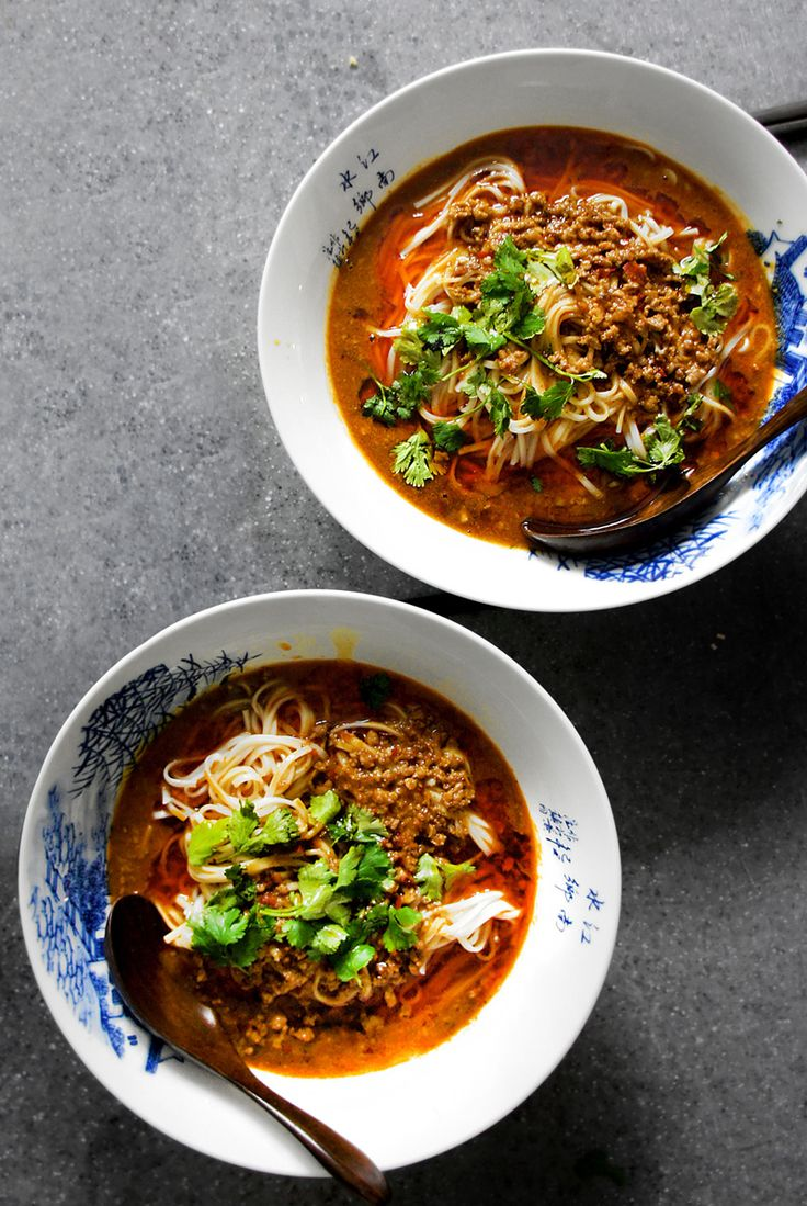 Sichuan dan dan noodle - the flavour of this is UNBELIEVABLE! Just swap the pork for cubes of firm tofu, or even finely diced veggies and use veg instead of chicken stock. | Organize and save your favourite recipes OFFLINE on your iPhone or iPad with @RecipeTin! Find out more here: www.recipetinapp.com #recipes #vegan #soup