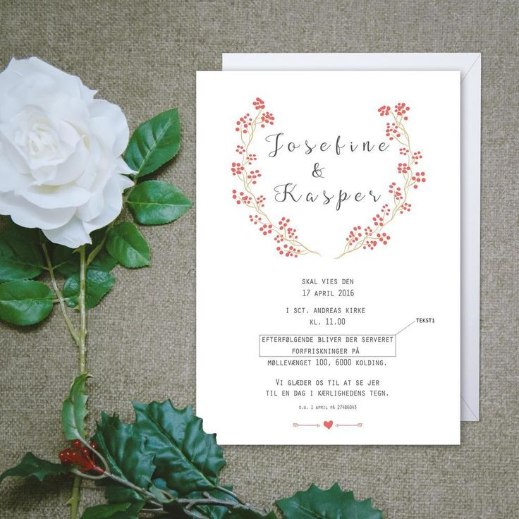 Bryllupsinvitation Bryllup Print-selv Indbydelse Invitation // Wedding Invitation Printable PIY DIY Digitalartdk