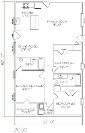 Barndominium floor plan 3 bedroom 2 bathroom 30x50