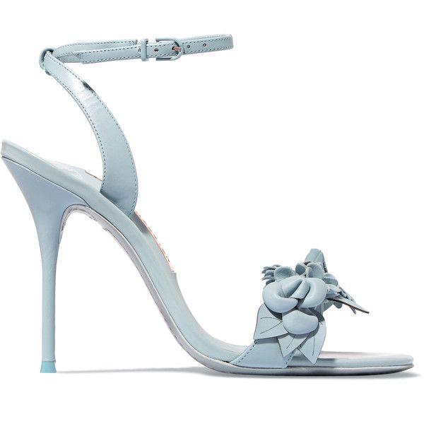 Sophia Webster Lilico appliquéd leather sandals ($490) ❤ liked on Polyvore featuring shoes, sandals, light blue sandals, floral shoes, leather high heel sandals, strappy leather sandals and strappy sandals