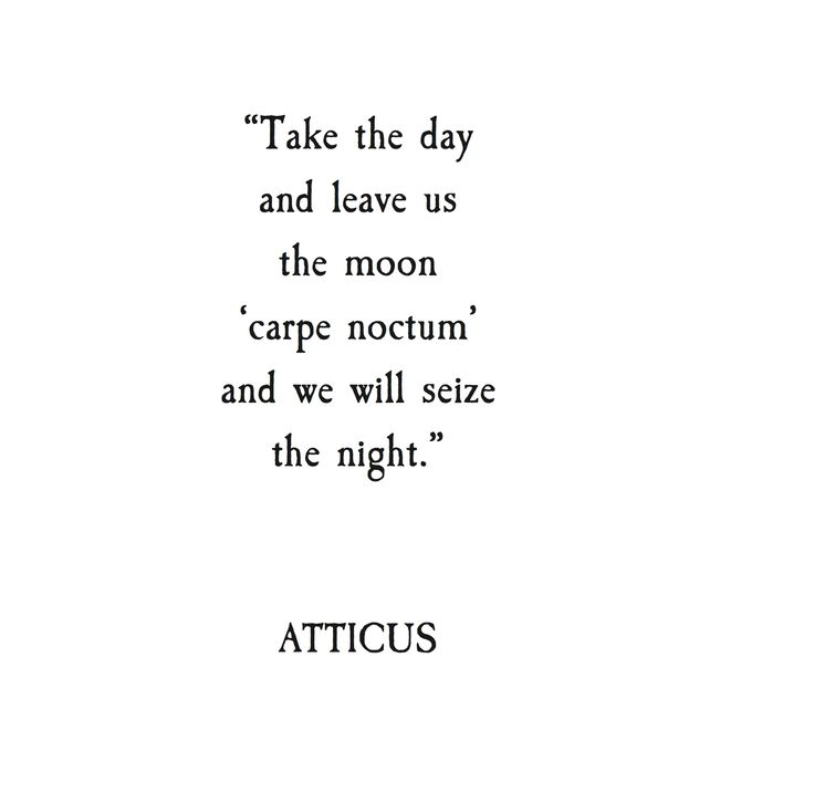 take the day and leave us the night, 'carpe noctum' and we will seize the night... Atticus