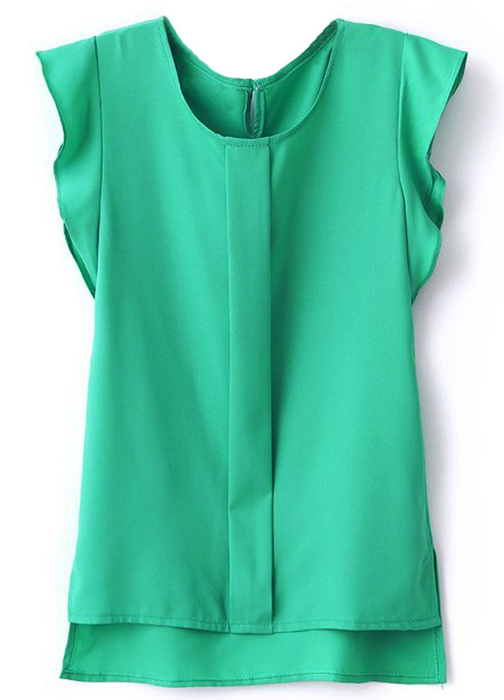 Green Puff Sleeve Split Chiffon Blouse 12.67
