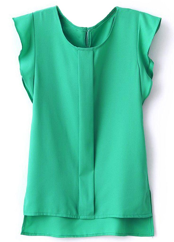 Green+Puff+Sleeve+Split+Chiffon+Blouse+13.19