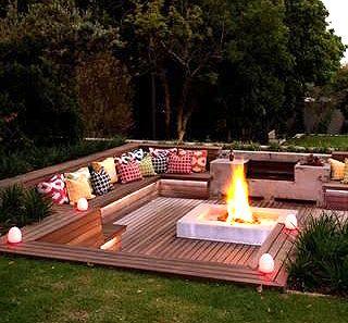 This feeling for sunset deck back patio deck pinterest for Sunken seating area outside