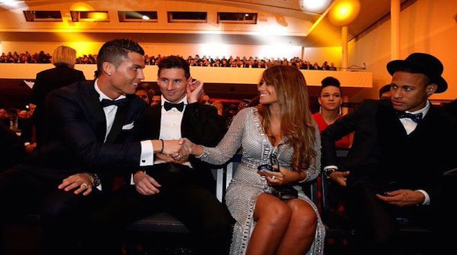 A picture paints a thousand words. Lionel Messi introduces his wife, Antonella, to Cristiano Ronaldo while Neymar Jr looks on at FIFA's 2015 Ballon d'Or awards in Zurich. 12.01.15