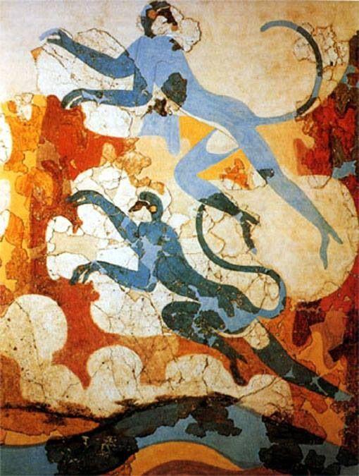 "Afresco Santorini, Greece. ""Blue Monkeys fron Beta 6 Akrotiri (before 1627 BCE)."