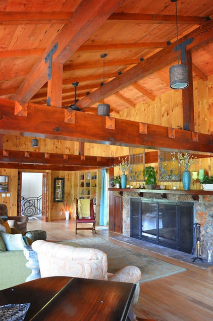 eclectic living room by Amy Renea?    Love the e posed wood beam!Living Rooms, Ranch House, Living Room Design, Eclectic Living, Dreams House, Cabin Home, High Ceilings, Amy Renea, Logs Cabin