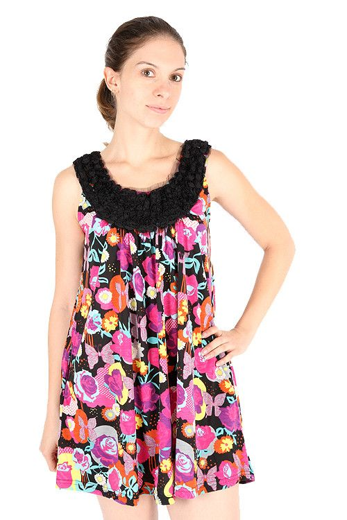 Yumi Kara Pop Flower Butterfly Tulle Roses Scoop Neck Sleeveless Dress