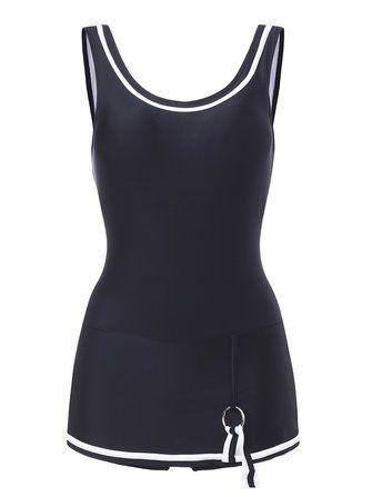 Women Comfort Low U Back One Piece Solid Color Multi Style Tankini Vest Swimwear at Banggood