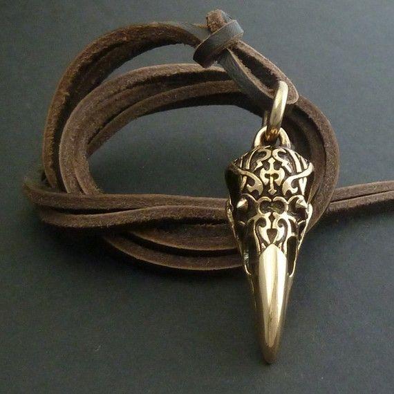 Skull Necklace for Men Raven Skull Necklace Bronze by LostApostle