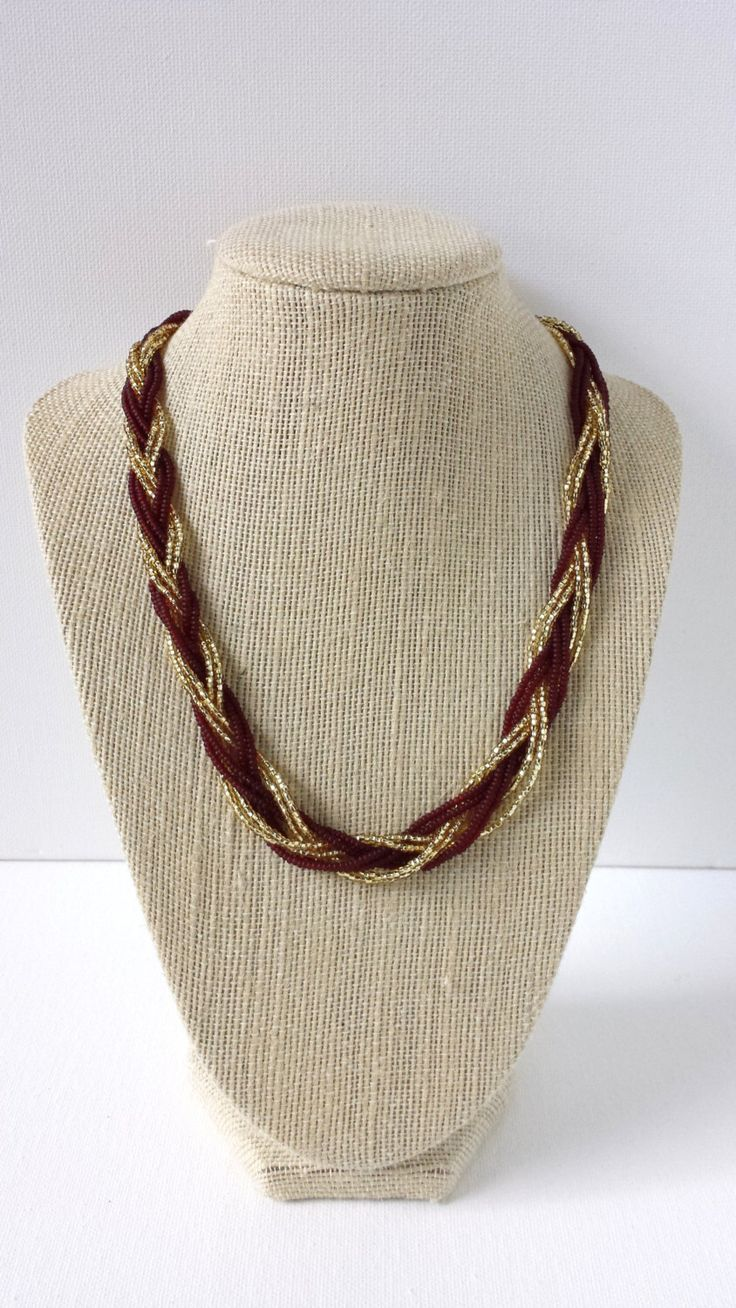Garnet and gold necklace, maroon necklace, beaded necklace, seed bead necklace, fsu necklace,florida state,braided necklace, braid necklace by StephanieMartinCo on Etsy https://www.etsy.com/au/listing/162580863/garnet-and-gold-necklace-maroon-necklace
