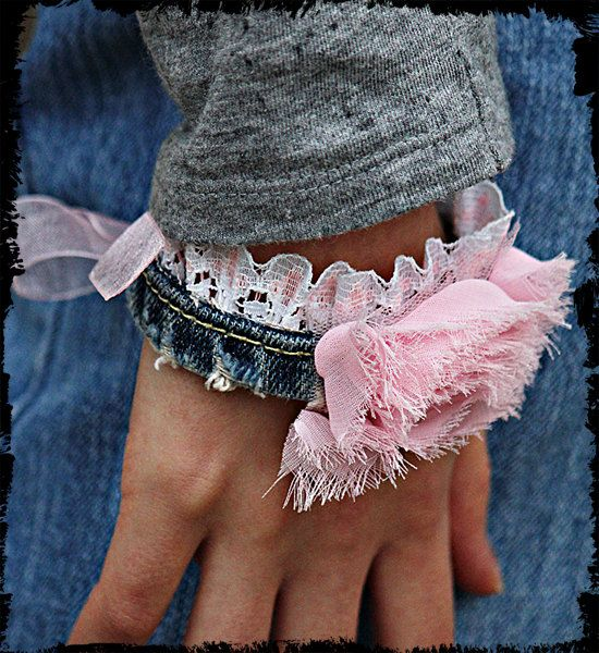 Denim lace shabby cuff / bracelet ribbon tie by kellyjoe on Etsy, $7.50