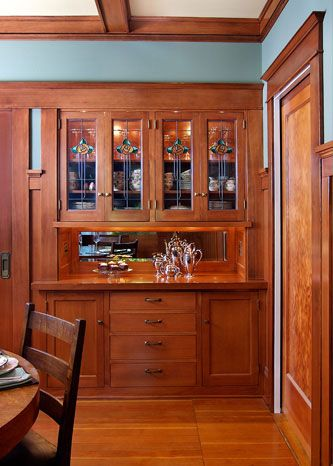 Craftsman style built-Hmmmm... I wonder if this like what grandma removed, according to her, the mirror slid up to allow pass through of food from the kitchen~SR