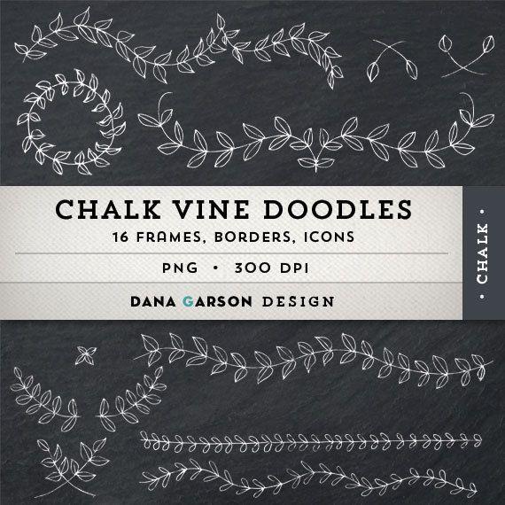 Chalk Laurels Vine Doodle Borders And Frames W BONUS Chalkboard Digital Paper For Card Making Printing Scrapbooking Clip Art ClipArt