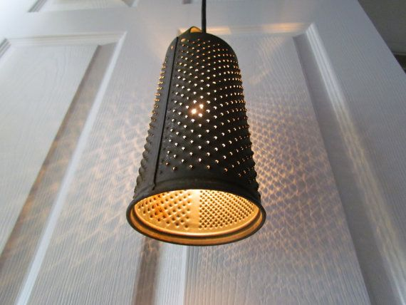 Vintage Rustic Grater Upcycled Hanging Filament Lamp by PluginART, $45.00