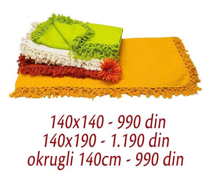 [ ON LINE SHOP ] Stolnjak Jednobojan - 140x140 (990 din) – 140x190 (1.190 din) – okrugli 140cm (990 din) Poručivanje putem ON LINE SHOP-a ili putem tel. 011/630-8420 - besplatna dostava http://www.orientemporium.net/product-category/kucni-tekstil/stoljnjaci/