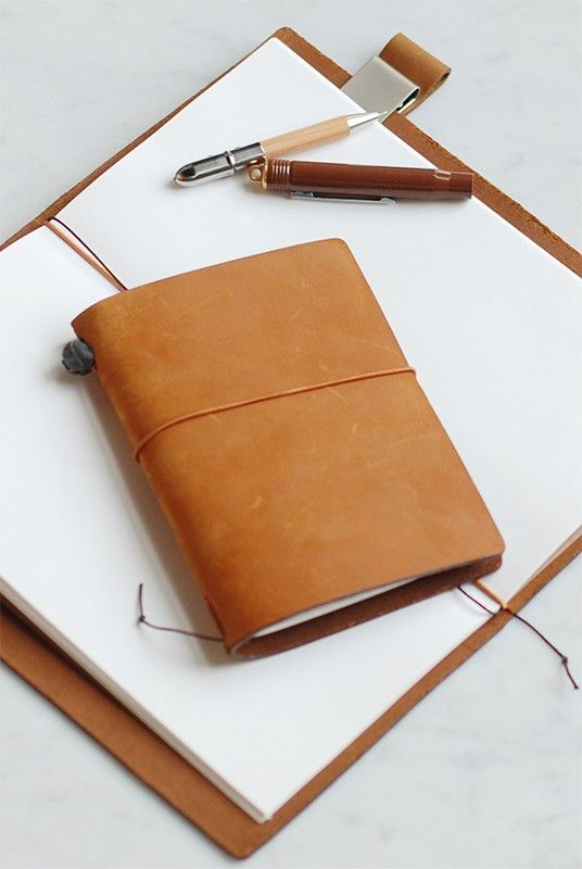 Midori - Traveler's Notebook - Large (12x22cm) - Leather Cover - Camel by Midori from NoteMaker.com.au