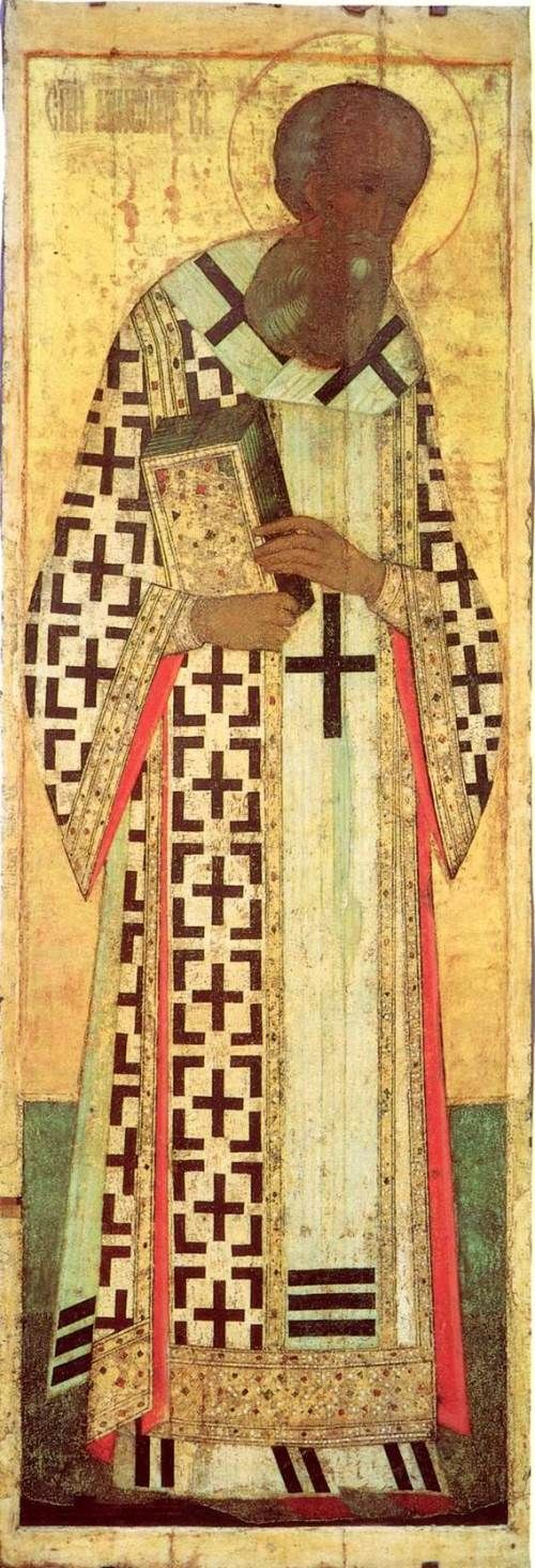 """St Gregory the Theologian, by Andrei Rublev and Daniil Cherny workshop, Moscow School, 1408.  From deesis (""""Vasilevsky order"""") of the Dormition Cathedral in Vladimir."""