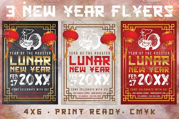 3 Chinese Lunar New Year Flyers by Lucion Creative on @creativemarket