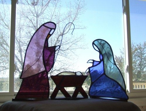 Stained Glass Nativity Set- Jesus - Mary - Joseph - Three Piece Creche | LadybugStainedGlass - Glass on ArtFire