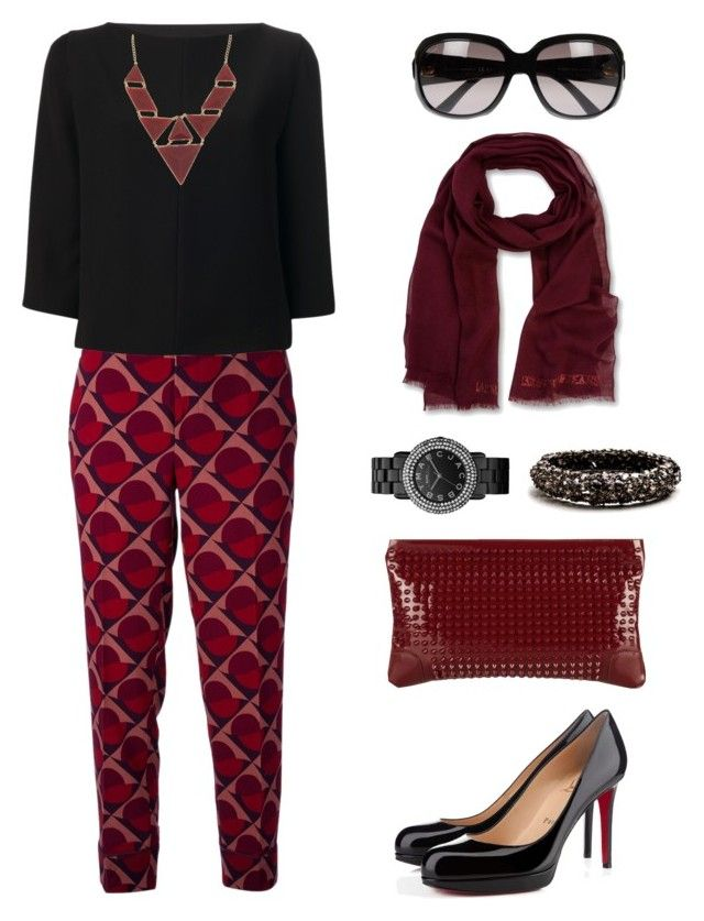 Maroon 10 by hijab-daily on Polyvore featuring polyvore fashion style Balenciaga Marc by Marc Jacobs Christian Louboutin Alexis Bittar ALDO Armani Jeans Gucci women's clothing women's fashion women female woman misses juniors