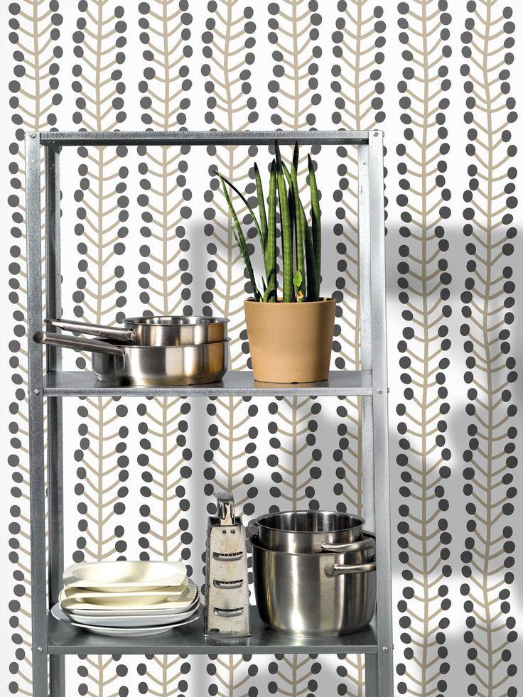Herbs / white / wallpaper / lavmi