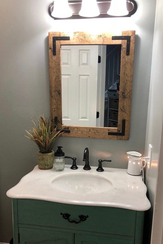 Rustic Distressed Mirror Farmhouse Mirror Wood Mirror Etsy Bathroom Mirror Wood Mirror Farmhouse Mirrors