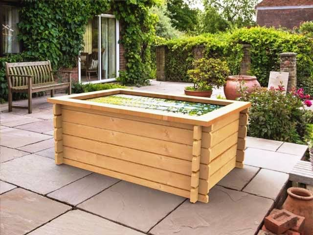 Raised TImber Garden Pond  #raisedpond #fishpond #koi #goldfish #patio #waterfeature #fountain  #watergarden #gardening #landscapedesign #landscaping #gardendesign #aquascaping #pool #pond