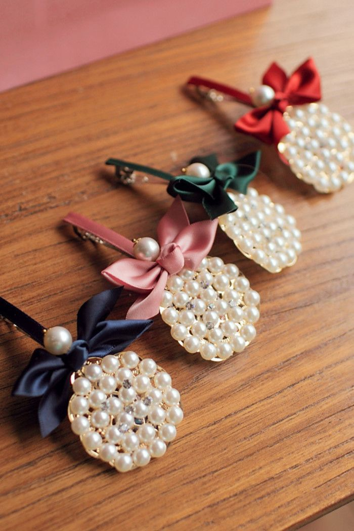 韩版珍珠蝴蝶结小发夹