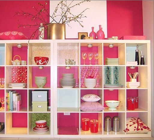 IKEA Expedit shelving unit! dining room: Bookcase, Dining Rooms, Cube Shelves, Decor Ideas, Color, Decorating Ideas, Ikea Expedit, Pink, Space