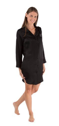 #MothersDay Silk Long Sleeve Sleep Shirt – Dream Fest (Black, L) – Bridal Shower Gift Ideas for Mother's Dat