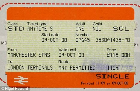 train ticket from manchester onwards. uses bold colours and basic type.