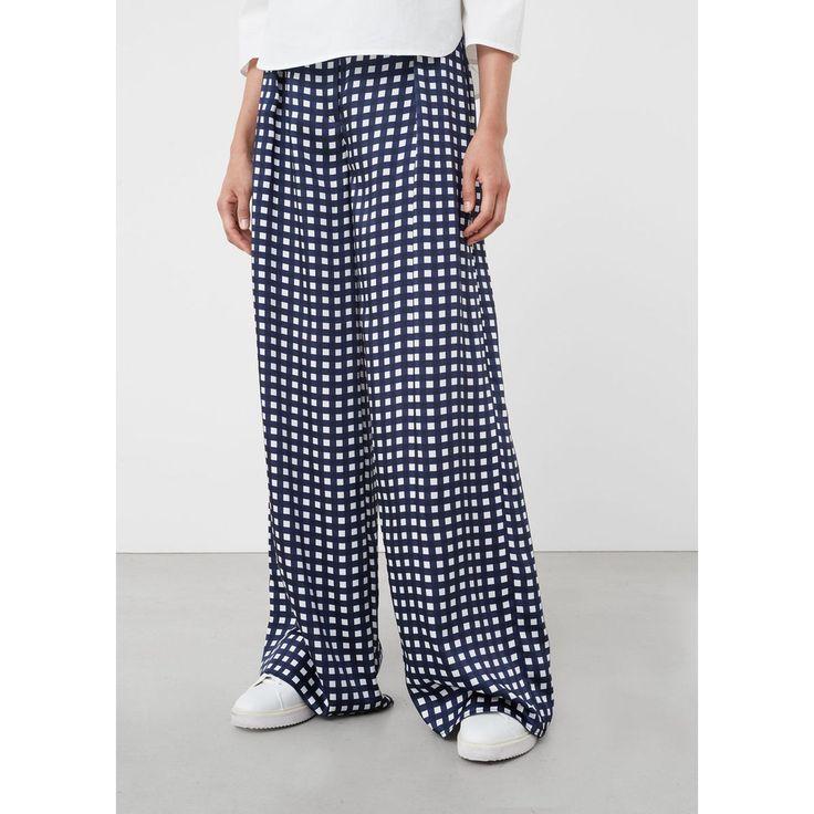 Pantalon palazzo à carreaux bleu marine foncé Mango | La Redoute