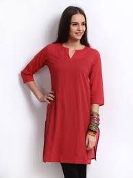 #Kurti #Style- #PlainRed Available at our store Be the icon in a simple style with these absolutely 'too good ones' #casuals #shopping #femalewears #dresses #indianstyle #FConnexions