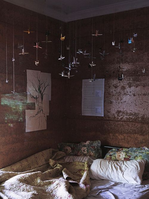 Bed with tiny paper cranes || Amara • Life • Style • Living • ||