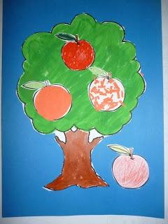 appelboom voor meer knutselwerkjes voor peuters neem een kijkje op http://peuterknutsels.blogspot.be/