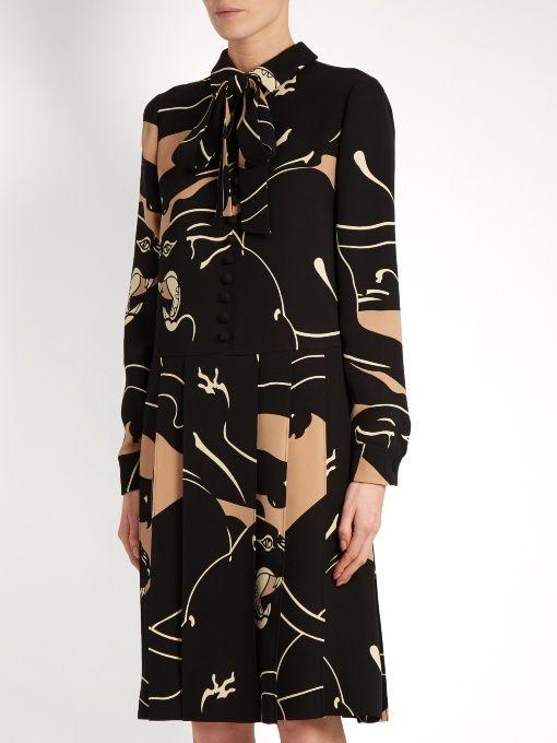 Valentino Panther-print silk-cady dress