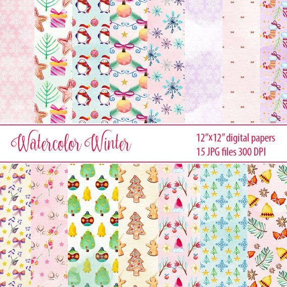 watercolor winter paper pack christmas paper digital by DigiPPP