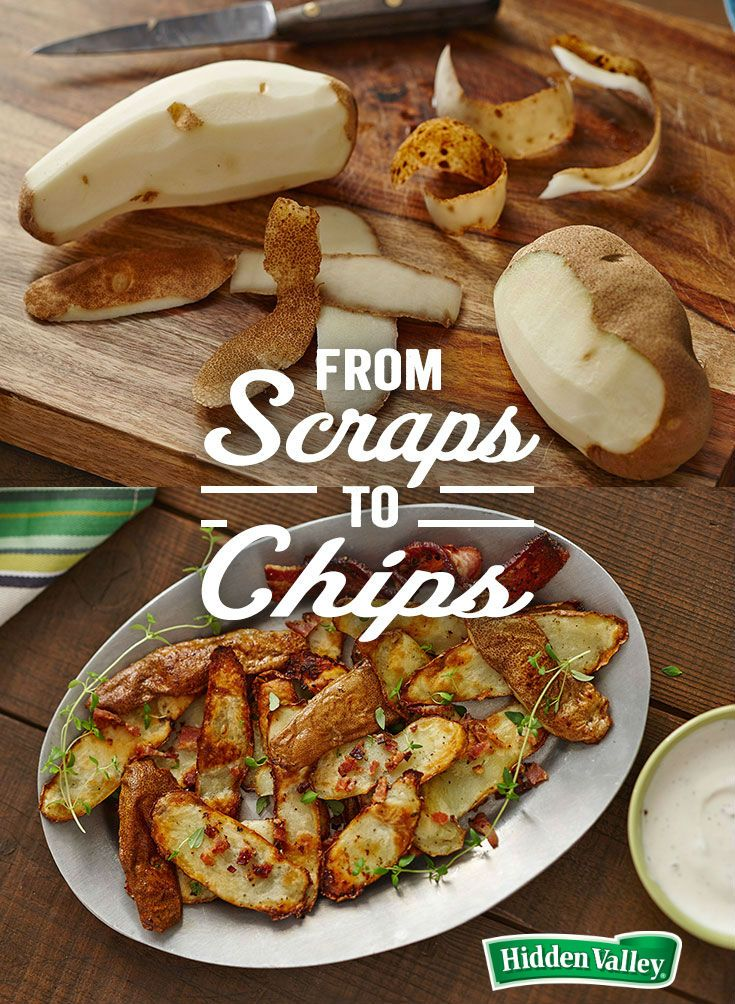 When you're making mashed potatoes for the holidays, think twice before you toss those peels. Reduce food waste in your kitchen – whip up these tasty potato chips (especially when they've been dipped in ranch)!