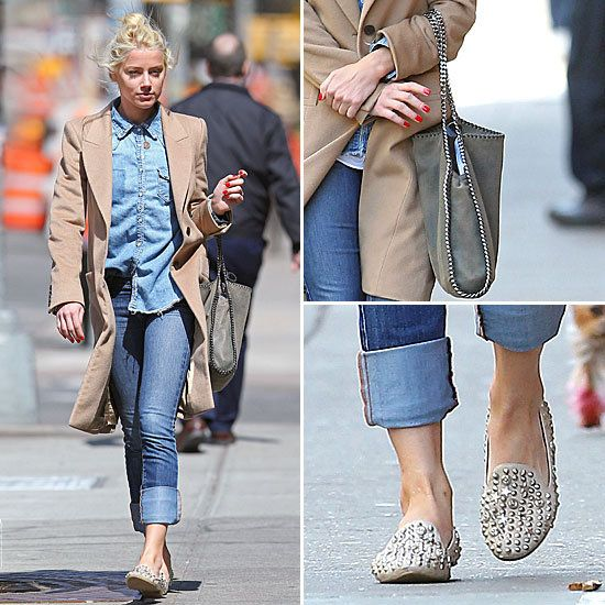 Amber Heard  *studded loafers by Jeffrey Campbell